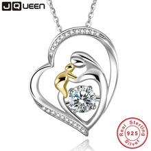 JQUEEN 925 Sterling Silver Mother's Love Jewelry 18k Gold Plated Mom Hold Baby Family Heart Pendant Necklace Chain(China)