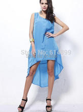 Women summer beach Vest dress Sleeveless irregular Line dresses recreational Outside smock dresses Sunshine Beach Dress sky blue
