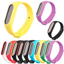 Replacement Wrist Band Strap with two-color Cover for Millet 2 Smart Bracelet Xiaomi Mi Band 2 Waterproof Cover Silicone strap(China)