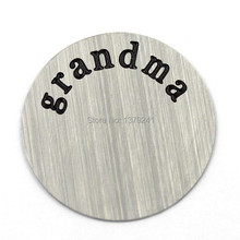22MM Stainless Steel Round Engraved Grandma Plate For Memory Glass Locket ,20 pcs/ lot , Free Shipping