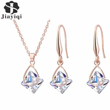 2017 New Cubic Zircon Rose Plated Gold Necklace And Dangle Drop Earrings for Women Wedding Party Jewelry Set