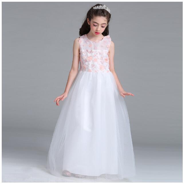 Girls Princess Formal Dresses 2017 Summer Gauze Birthday Kids Long Dress Ball Gown CHildrens Wedding Dress Dancewear 5-15Y<br>