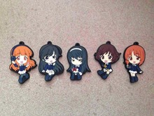 5 Pcs/set Anime Girls and Panzer pvc figure toy Reizei Mako Rubber phone strap/Keychain pendant toys for gifts