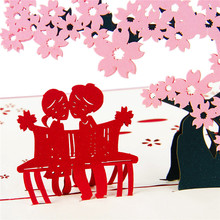 3D Cherry Tree With Lover Origami Postcard Paper Laser Cut Pop Up Wedding Post Cards Valentine's Day Wishes Gift Greeting Cards