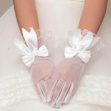 Short white lady girl princess bridesmaid party dancing performance gloves with bowknot free shipping wholesale(China)