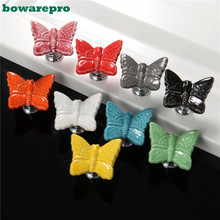 Newest  Cartoon Butterfly Ceramic Door Knob Pull Handle Wardrobe Cabinet Cupboard Drawer Closet 3cm x 3.5cm 1Pcs Free Shipping