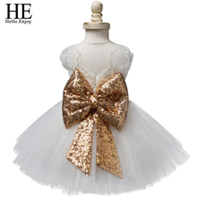 Baby girl dresses christening gown 2018 summer infants dress lace bow toddler baby princess birthday dress for baby girl clothes(China)