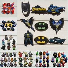 8-16pcs Superhero Batman Cartoon Figure Icon PVC Shoe Buckle Shoe Charm Fit Croc Shoes&Wristband Accessory Kid Gift Party Favors(China)