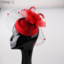 Red Fascinator base for Women Veil Flower Feather netting Hat for Bridal Hair  Hat Tocados Sombreros Cocktail Party millinery