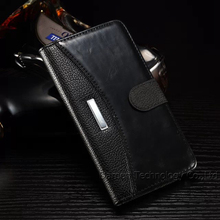 1 piece/lot leather Cell Phones Case For Samsung Galaxy Note 4 with Wallet Stand Card Hole CONTRAST COLOR Black Brown 4 Colors