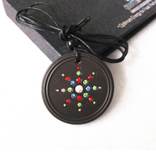 Quantum Energy Pendants Round Volcanic Lava Stone with Colorful CZ Crystal Fashion Jewelry 2pcs/lot