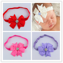 Baby hair accessories headbands children rib dovetail V word Butterfly headband elastic rhinestone headband