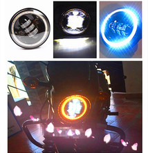 "Super Cool 5.75"" headlight Motos Accessories Angle Eyes motorcycle 5 3/4"" led headlamp for Harley Motorcycle Projector Daymaker"