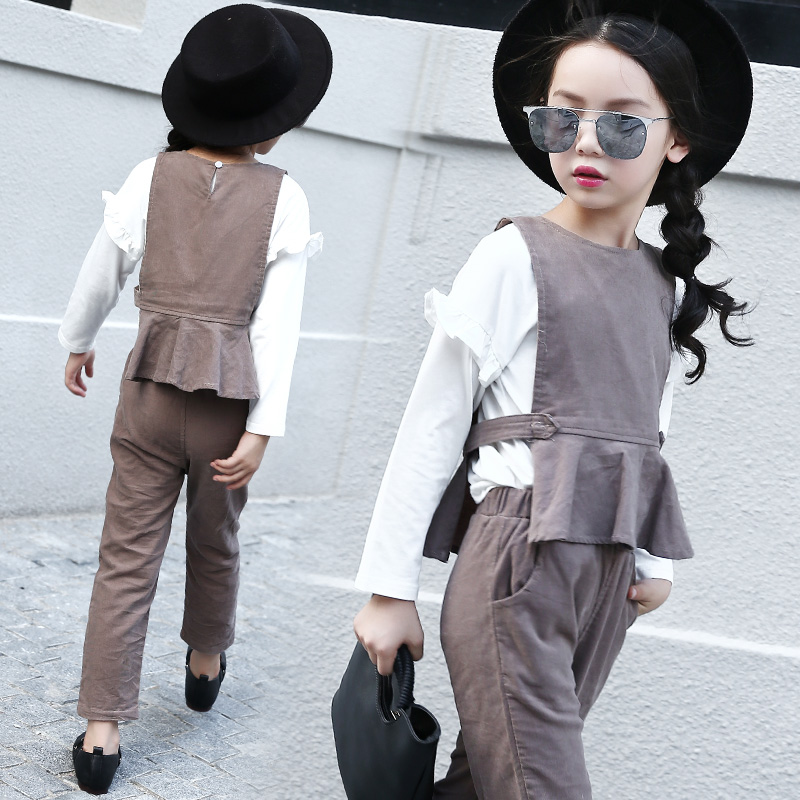 Autumn Baby Girls Clothes Sets Cotton School Girls Clothing Sets Long Sleeve Blouses + Vest + Pants Suit for Children Costume 14<br>