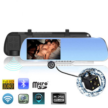 "5"" Touch dvr mirror Bluetooth rearview mirror with GPS navigation android 4.04 HD1080P Recorder Rear View 8GB Navitel 9.5 Map"