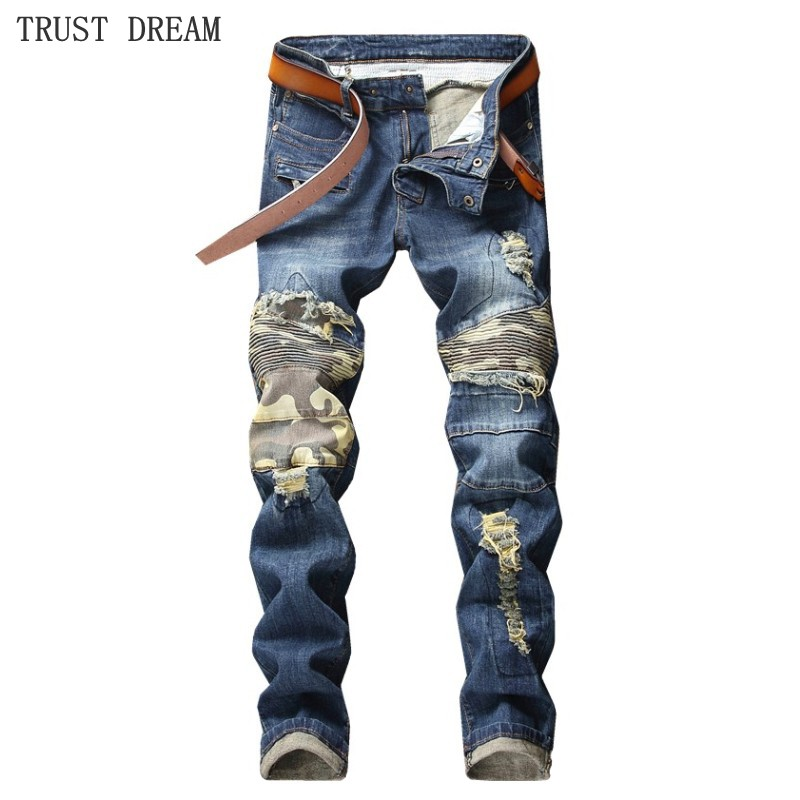 Men's Patchwork Slim Jeans Homme Personal Camouflage Denim Pants Trousers Euro Style Motor Biker Man Fashion Quality Jean