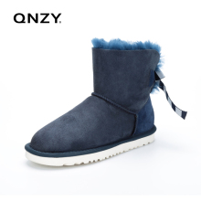 QNZY Women's Shoes Sheepskin Leather Boots Winter Australian Female Snow Boots Wool Women Fur Boots Botas Flat Shoes(China)