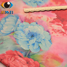 Peony flower printing and dyeing imitation Hongyun yarn fabric hand diy bag cheongsam fabric imitation silk clothing(China)