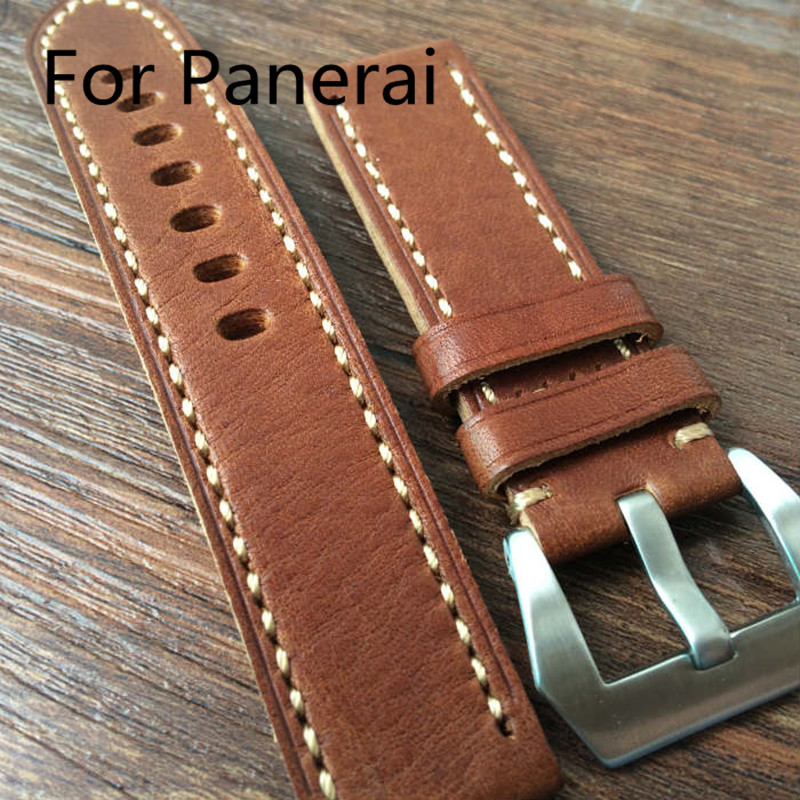 20MM 22MM 24MM 26MM Handmade Leather Strap, Classic Brown Soft Watchbands, Watch Belt For PAM<br><br>Aliexpress