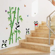 DIY Cartoon Panda Green Bamboo Wall Stickers For Kids Living Room Bedroom Bathroom Decoracion Children Wallpapers Home Decor