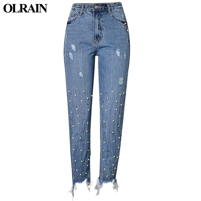 Olrain Women Fashion Casual Loose Pants Autumn and Winter New Pearl 3-Color Nail Ornament Irregular Tassel Straight Skinny JeansÎäåæäà è àêñåññóàðû<br><br>