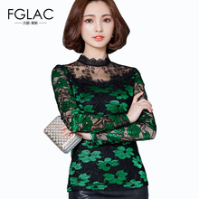 Buy 2017 Spring Women's Shirts Long-sleeved Blouses Slim Elegant Lace tops Sexy Hollow Women tops Plus size Women clothing blusas for $10.45 in AliExpress store