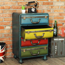 Metal Iron Box Cabinet Decor Decoration Retro Floor Decoration Home Furnishing Living Room Furniture