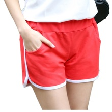 Women Short Female Girl Shorts Solid Color Black / Gray / Red Summer Casual Shorts Size M / L /XL(China)