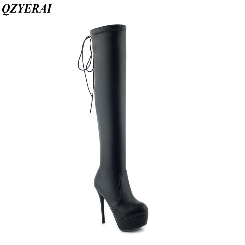 QZYERAI Winter high heels with ladies over knee boots super - fiber leather elastic tight women boots size-34-45<br>