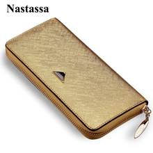 Female Wallet Genuine Leather Clutch Bag Women Long Luxury Brand Purses Cell Phone Handbags Zipper Pouch Card Holders(China)