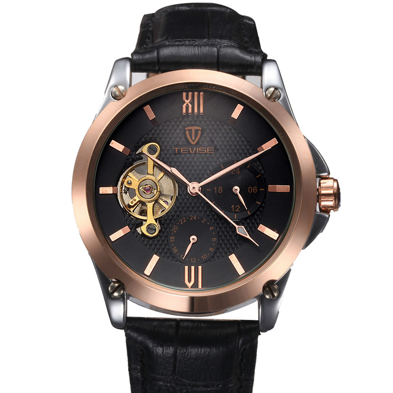 TEVISE Business Automatic Watch Tourbillon Mechanical Watch Men Genuine Leather Strap 24 hours Famous Brand relogio masculino<br>