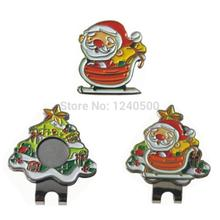 Free Shipping Christmas Santa Claus Golf Ball Marker Plus Golf Hat Clip, Magnetic Ball Mark.