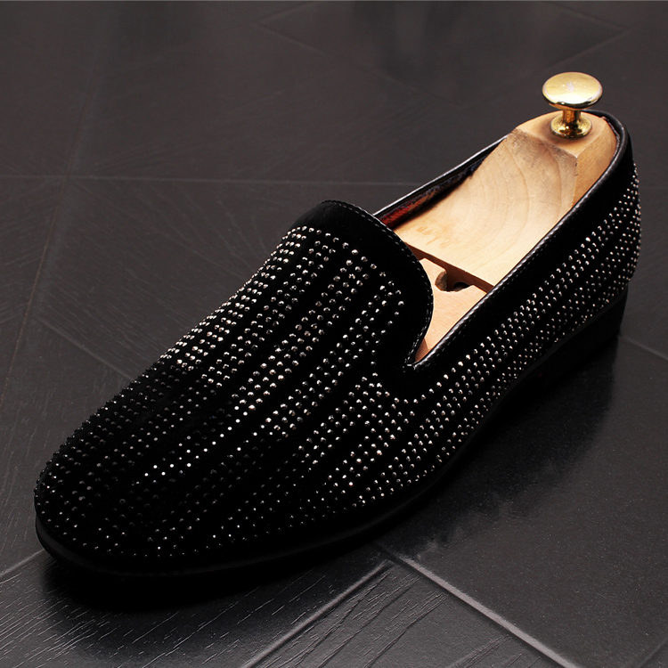 2019 New Gradient Striped Rhinestones Loafers shoes SmokingSlippers Dress Wedding Party Flats Casual Moccasins shoe 46 Online shopping Bangladesh