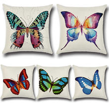 Cute Butterfly Printed Pattern Cushion Pillow Case Linen Square Throw Pillow Cover Home Textil Decorative Bed Pillow