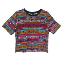 Women vintage totem stried Cropped T shirt Retro Tribal short sleeve crop shirt casual Blusas Femininas European tops DT72(China)