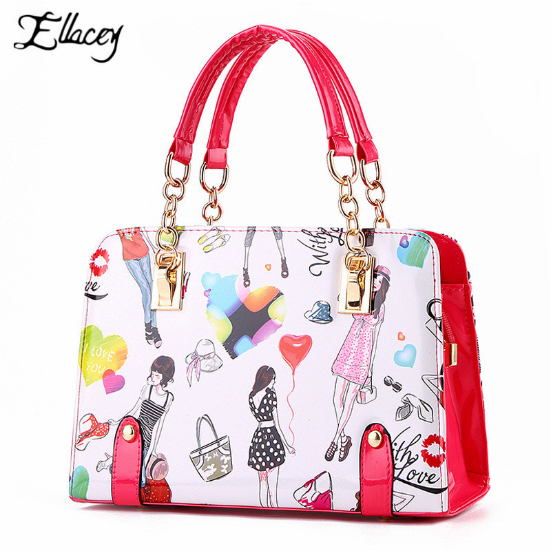 2016 Pink Cute Lady PU Leather Handbags High Quality Printing Shoulder Bag Women Candy Colors Jelly bag Ladies Casual Tote Bags<br><br>Aliexpress