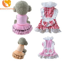 Plaid Pets Dog Dress Puppies Cat Wedding Clothes Bow Tie Dresses For Small Dogs Chiffon Princess Doggies Short Shirt DOGGYZSTYLE