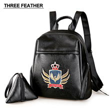 THREE FEATHER Brand Women Backpack Teen girls' School Bags Cute School Bag Lady Bookbag Travel Rucksack Leather Backpack Mochila