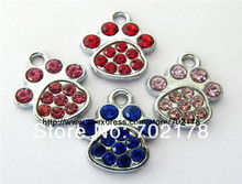 50pcs paw zinc alloy and mix color rhinestone Hang Charms Fit Pet Collar Necklace Bracelet Cell Phone Charms free shipping(China)