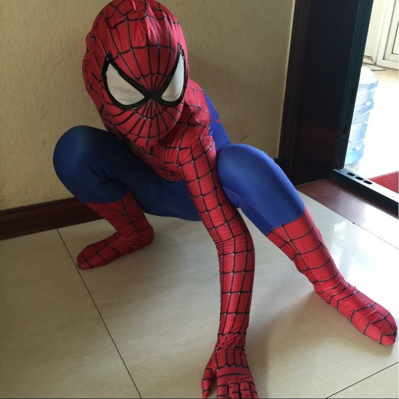 spiderman costume kids 3d girl child the amazing spider man mask costume suit 2 boys kids spandex black blue amazing(China (Mainland))