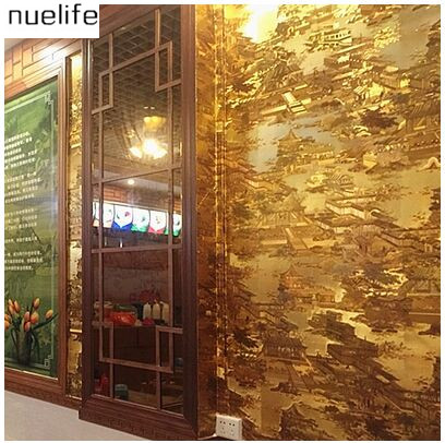 Ching Ming River on the map wallpaper  landscape gold pattern KTV restaurant restaurant classical Chinese decoration wallpaper<br><br>Aliexpress