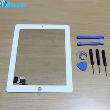 Netcosy NEW white Black Touch Screen Digitizer Panel Glass for iPad 2 Screen Sensor + 7 in 1 Opening Tools Kit(China)