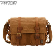 VEEVANV 2017 new canvas men messenger bag leisure school hand bag vintage canvas travel postman shoulder bags business briefcase(China)