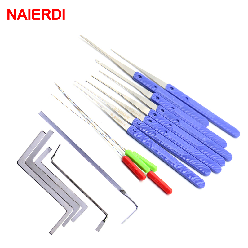 NAIERDI Locksmith Tools Broken Key Remove Auto Extractor Set Stainless Steel Wrench Row Tension Removal Hooks Lock Kit Hardware(China)