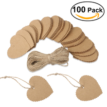 100pcs Wedding Party Heart Shaped Scalloped Kraft Paper Tag with 10M Rope (Brown)