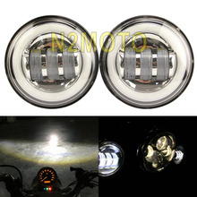 1 Pair 4.5' LED Car style  Spotlight Angle Eye Headlight Custom Fog Light for Harley Cafe Racer Street Bike