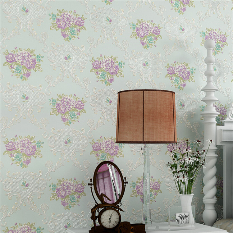 3D Non Woven Floral Wallpaper Rustic for Bedroom Wallpaper Flower Wallpaper Roll 3D Wallpaper Wall Mural for Living Room<br>