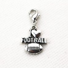 Hot Sale 20pcs/lot l love football Floating Locket Dangle Charms With Lobster Clasp For Floating necklace DIY Jewelry