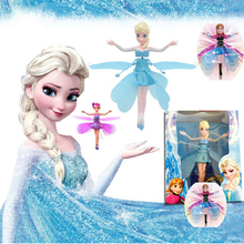 Cheap Original Fever Princess Flying Fairy Elsa Toys With Lights Up Infrared Induction Doll for Kids Electronic Interactive Toys