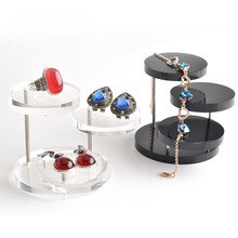 New Jewelry Organizer Jewelry Display Stand Clear 3 Tray Acrylic Earring Bracelet Necklace Display Stand Shelf @M23